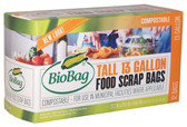 Tall Kitchen Bags 13 Gallon 12 Bags 22.2 in x 29 in x .68 mil, Biobag