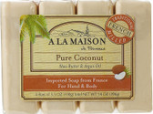 Hand & Body Bar Soap Pure Coconut 4 Bars 3.5 oz Each, A La Maison de Provence