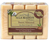 Hand & Body Bar Soap Sweet Almond 4 Bars 3.5 oz Each, A La Maison de Provence