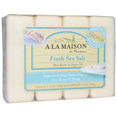 Hand & Body Bar Soap Fresh Sea Salt 4 Bars 3.5 oz Each, A La Maison de Provence