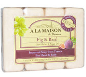 Hand & Body Bar Soap Fig & Basil 4 Bars 3.5 oz Each, A La Maison de Provence