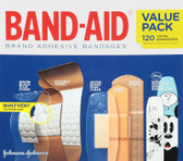Brand Adhesive Strips Bandages Value Pack 5 Cartons 120 Bandages, Band Aid