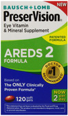 AREDS 2 Eye Vitamin & Mineral Supplement 120 sGels, Bausch & Lomb PreserVision