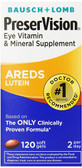 AREDS Lutein Eye Vitamin & Mineral Supplement 120 SG, Bausch & Lomb PreserVision