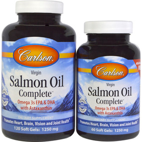 Virgin Salmon Oil Complete 1250 mg 120 sGels + 60 Free sGels, Carlson Labs