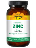 Zinc Chelated 50 mg 100 Tabs, Country Life