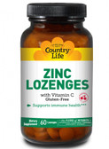 Zinc Lozenges with Vitamin C Cherry Flavor 60 Lozenges, Country Life