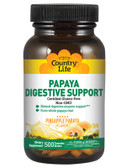 Papaya Digestive Support Pineapple Papaya Flavor 500 Wafers, Country Life