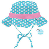 Classic Reversible Ruffle Bucket Sun Protection Hat 9-18 Mon Aqua Daisy, iPlay