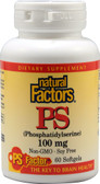 PS (Phosphatidylserine) 100 mg 60 sGels, Natural Factors