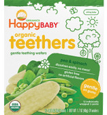 Gentle Teething Wafers Organic Pea & Spinach 12 Packs, Nurture (Happy Baby)