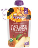 Organic Baby Food Pears Squash & Blackberries Stage 2 6+ M 4 oz, Happy Baby