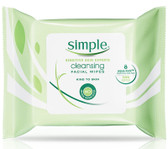 Cleansing Facial Wipes 25 Wipes (7 x 7.5 in /18 x 19 cm), Simple Skincare