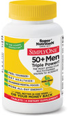 Simply One 50+ Men Triple Power! Iron-Free 90 Tabs, Super Nutrition
