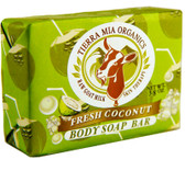 Raw Goat Milk Skin Therapy Body Soap Bar Fresh Coconut 3.8 oz, Tierra Mia