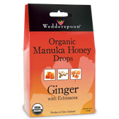 Organic Manuka Honey Drops Ginger with Echinacea 4 oz, Wedderspoon Organic