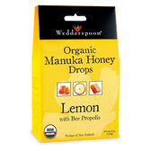 Organic Manuka Honey Drops Lemon With Bee Propolis 4 oz, Wedderspoon Organic