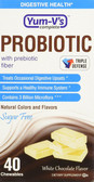 Probiotic with Prebiotic Fiber No Sugar White Chocolate 40 Chews Yum-V's