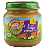 Organic Baby Food Stage 2 Plum Banana Brown Rice 4 oz, Earth's Best