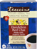 Organic Chicory Herbal Tea No Gluten Dandelion Red Chai 10 Tea Bags, Teeccino