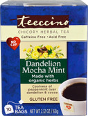 Organic Chicory Herbal Tea No Gluten Dandelion Mocha Mint 10 Tea Bags Teeccino