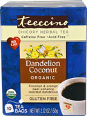 Organic Chicory Herbal Tea No Gluten Dandelion Coconut 10 Tea Bags, Teeccino