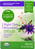 Organic Night Time Relaxation Herbal Tea Supplement 16 Tea Bags, Simple Truth