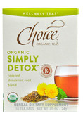 Simply Detox Roasted Dandelion Root Blend 16 Tea Bags, Choice Organic Teas