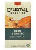 Organics Herbal Tea Ginger & Turmeric 20 Tea Bags, Celestial Seasonings