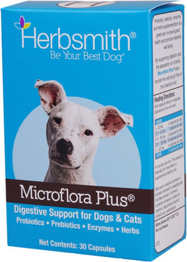 Herbsmith Microflora Plus for Dogs & Cats Digestion 30 Caps, Flora