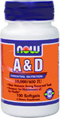 Vitamin A & D 10000, 400, 100 Softgels, Now Foods