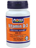 Vitamin D 400 IU 180 Softgels, Now Foods Vitamins, Bones