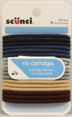 No Damage Elastic Hair Bands Assorted Colors 18 Bands, Scunci