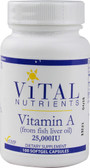 Vitamin A (from fish liver oil) 25000 IU 100 Softgel Caps, Vital Nutrients