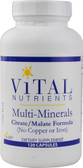 Multi-Minerals Citrate-Malate Formula No Copper No Iron 120 Caps Vital Nutrients