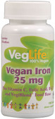 Vegan Iron 25 mg 100 Tabs, VegLife