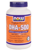 DHA-500 mg 180 Softgels Now Foods, Cognition