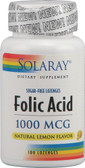 Folic Acid No Sugar Natural Lemon 1000 mcg 100 Loz, Solaray