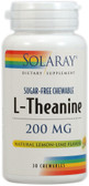 L-Theanine No Sugar Lemon Lime 200 mg 30 Chews, Solaray