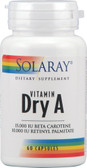 Dry Vitamin A 25000 IU 60 Veg Caps, Solaray
