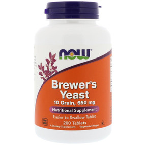 Brewers Yeast 10 Grain 650 mg 200 Tabs Now Foods