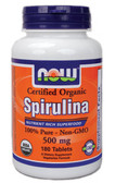 Organic Spirulina 500 mg Tabs 180 Tabs, Now Foods