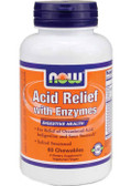 Acid Relief With Enzymes 60 Chewables, Now Foods, Sour Stomach