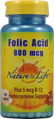 Folic Acid 800 mcg 250 Tabs, Nature's Life