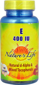 Vitamin E Natural d-Alpha & Mixed Tocopherols 400 IU 100 sGels, Nature's Life
