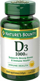 Vitamin D3 1000 IU High Potency 350 sGels, Nature's Bounty