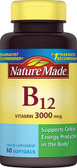 Vitamin B-12 3000 mcg 60 Liquid sGels, Nature Made