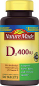 Vitamin D3 400 IU 100 Tabs, Nature Made