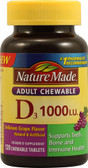 Chewable D3 for Adults Grape 1000 IU 120 Chews, Nature Made