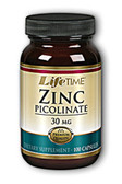 Zinc Picolinate 30 mg 100 Caps, Lifetime